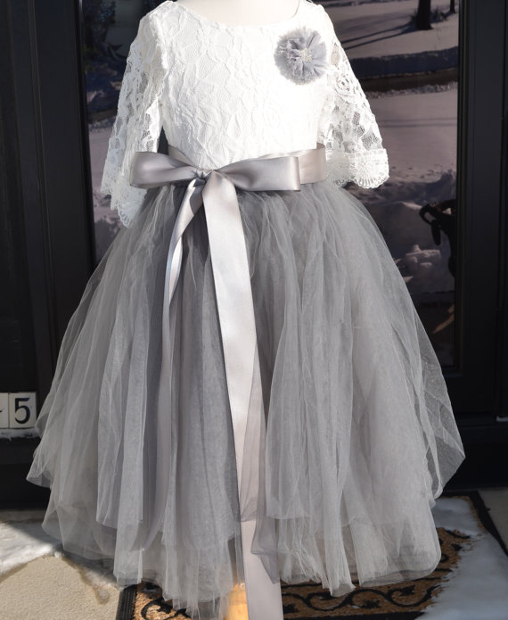 Свадьба - Girls Gray tutu,  Girls Dove Grey Long Tulle Skirt , Gray Tutu, Tulle skirt , Girls Tutu, Flower girl dress