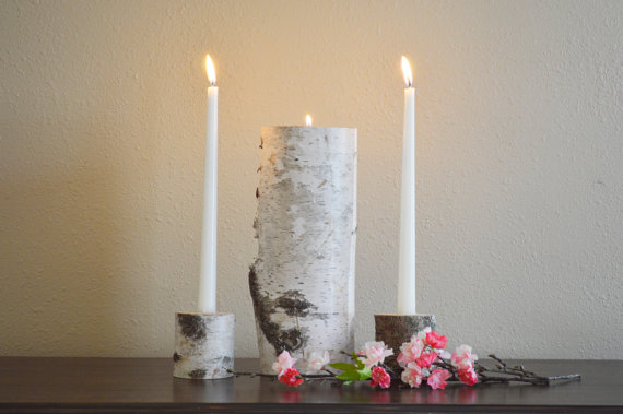 Hochzeit - Unity Candle Holder Set - Wedding Ceremony, Birch Natural Unity Candle, Vintage Wedding, Rustic Wedding Unity Candle