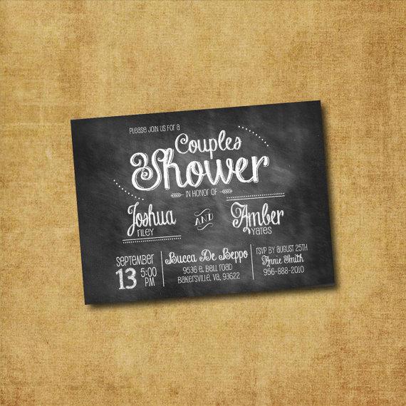 Wedding - Printable Couples Shower Invitation - Chalkboard Couples Shower, Bridal Shower, Wedding Shower, Lingerie Shower