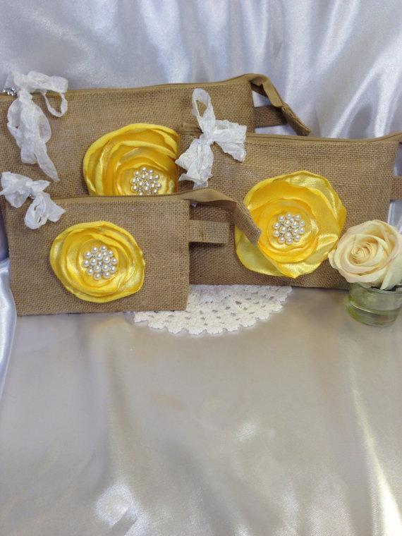 Mariage - Gift set, Burlap bags, Bridal gift, Rustic wedding, Gift ideas, Wedding gift, Clutch, Cosmetic bags, Clutch bag, Wedding, Bridesmaid