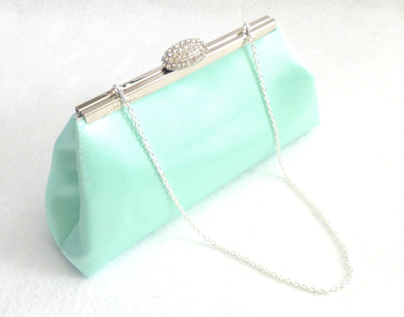Mint Green And Ivory Paisley Bridal Clutch Bridesmaid Gift Wedding Mother Of The Bride Shower