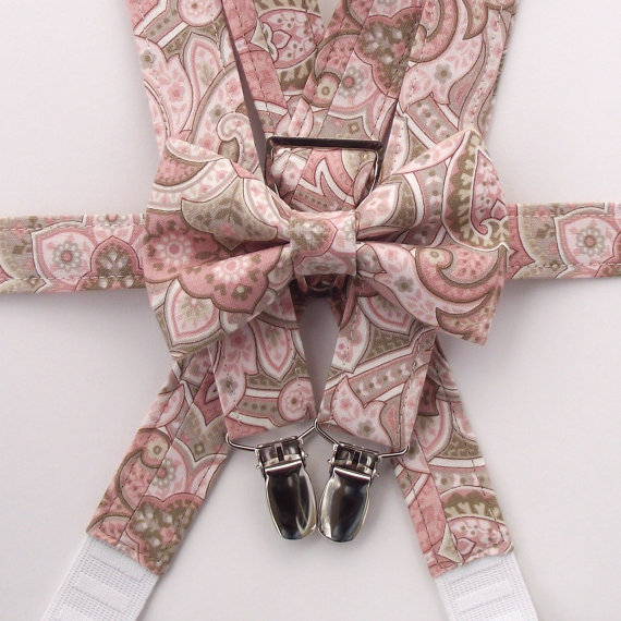 Hochzeit - Blush Bow Tie and Suspenders:  Boys Blush Suspenders, Paisley Suspenders, Rose Toddler Suspenders, Dusty Rose, Tan, Ring Bearer