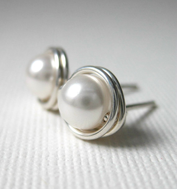Mariage - Pearl Stud Earrings 6mm Bridal Jewelry Wire Wrapped Swarovski Glass Pearls and Sterling Silver - White - Simply Studs - 28 Colors Available