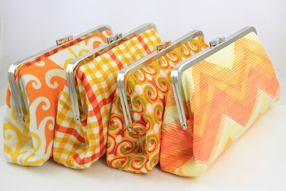 Mariage - Orange Wedding Party Gift / Orange Bridesmaids Clutches / Wedding Purse - Set of 8