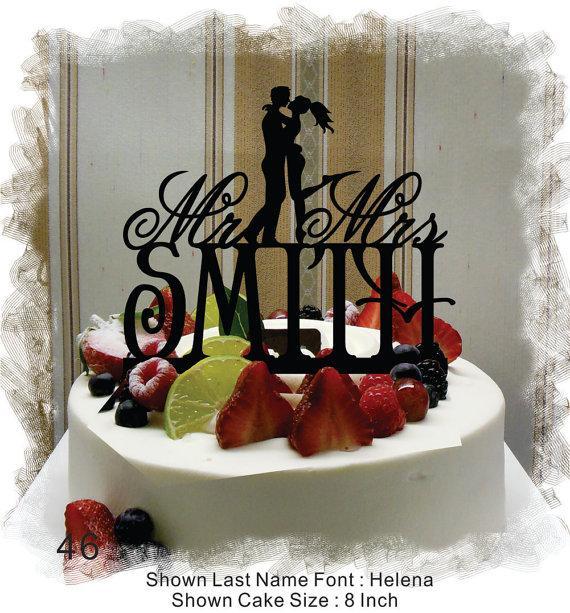 زفاف - Silhouette  Cake Topper , Monogram Cake Topper Mr and Mrs  With Your Last (Family)Name  - Handmade Custom Wedding Cake Topper