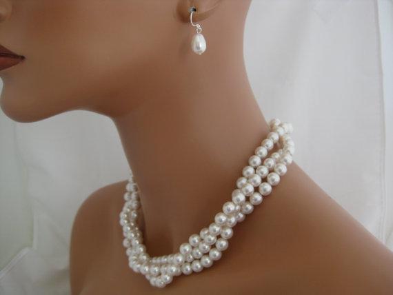 Свадьба - Swarovski Jewelry Set Pearl Multistrand necklace and earring set wedding jewelry set bridal necklace and earrings