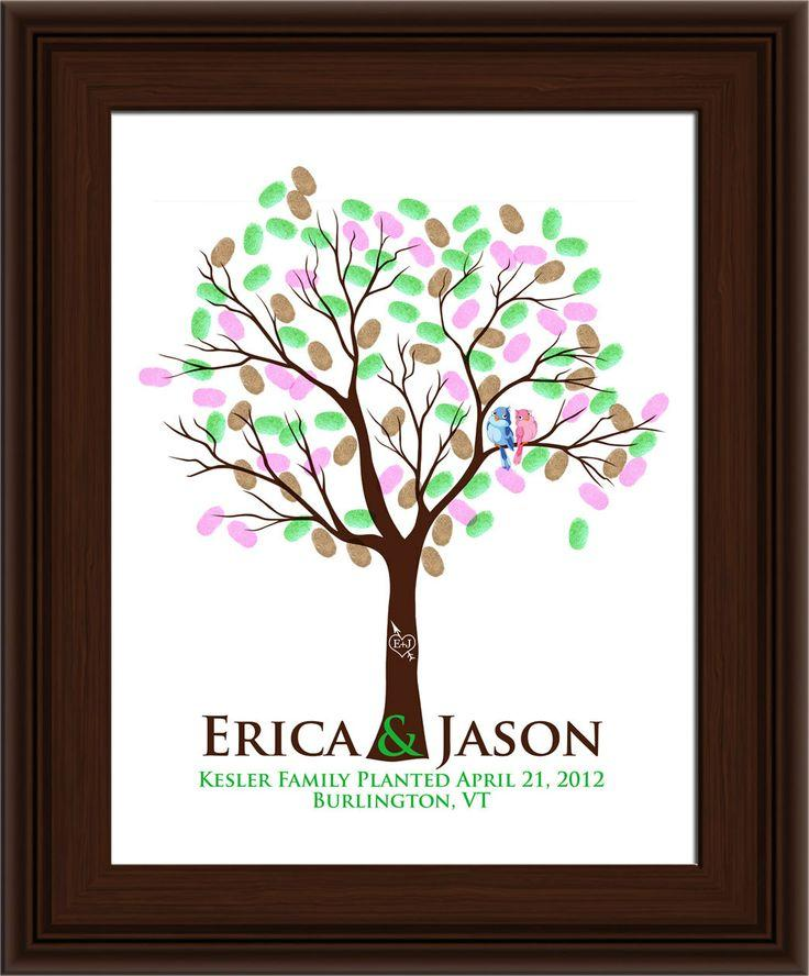 WEDDING TREE GUEST Book, Thumbprint Tree, Fingerprint Guest Tree ...