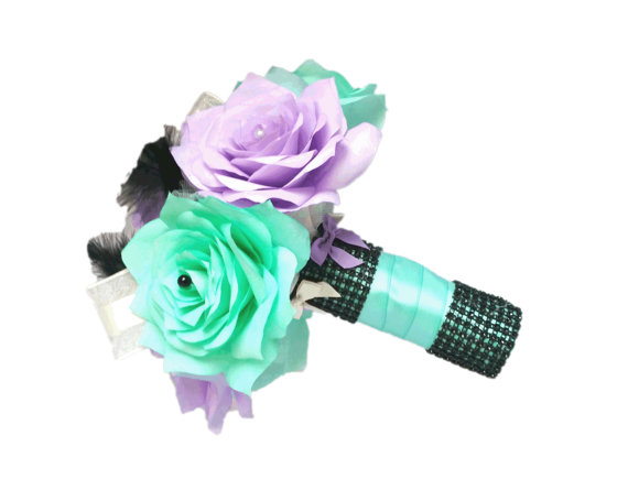 Lavender And Tiffany Blue Bridal Bouquet Purple Wedding Bridesmaid Paper Toss Fake Flower