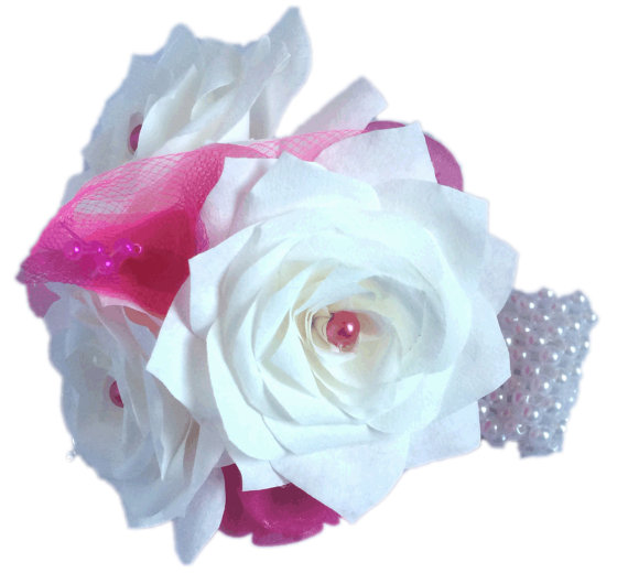 Hot Pink Corsage White Corsage Prom Corsage Fake Flower Corsage