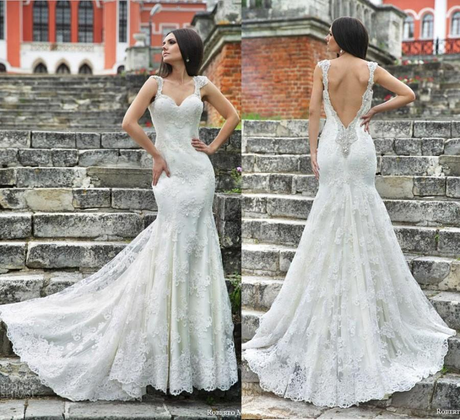 Roberto motti backless wedding dress gown 2015 sexy for Backless wedding dresses online