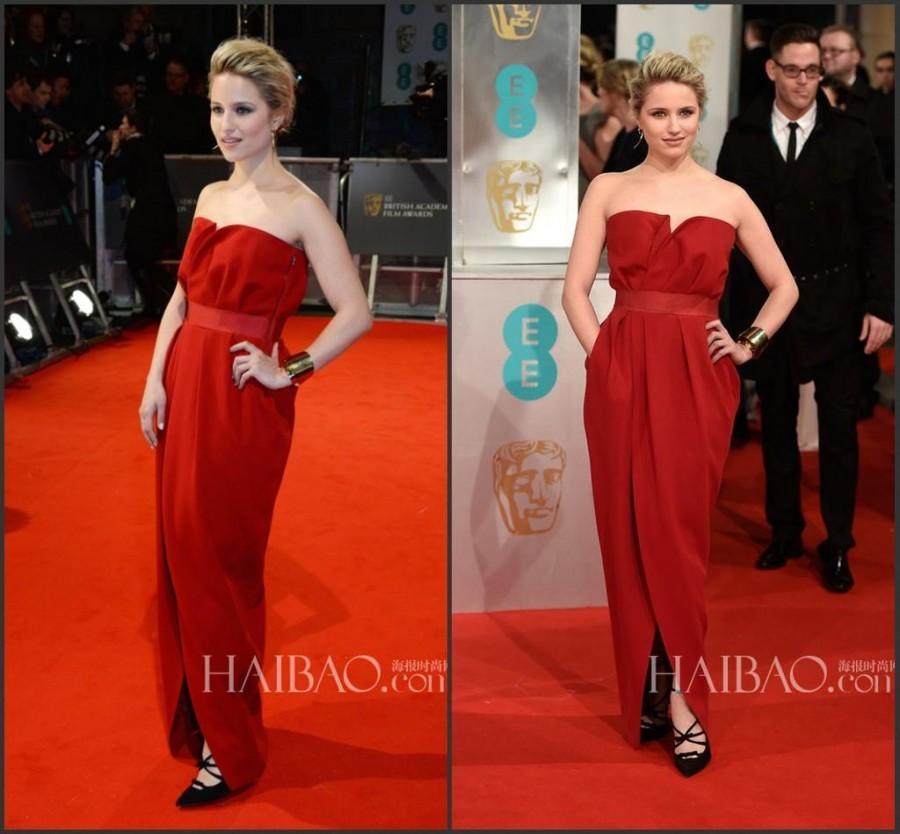 Wedding - 2015 BAFTA Celebrity Evening Dresses Strapless Front Split Satin Bateau Neck Red Carpet Dress Prom Formal Dress Gowns Floor Length Online with $100.79/Piece on Hjklp88's Store