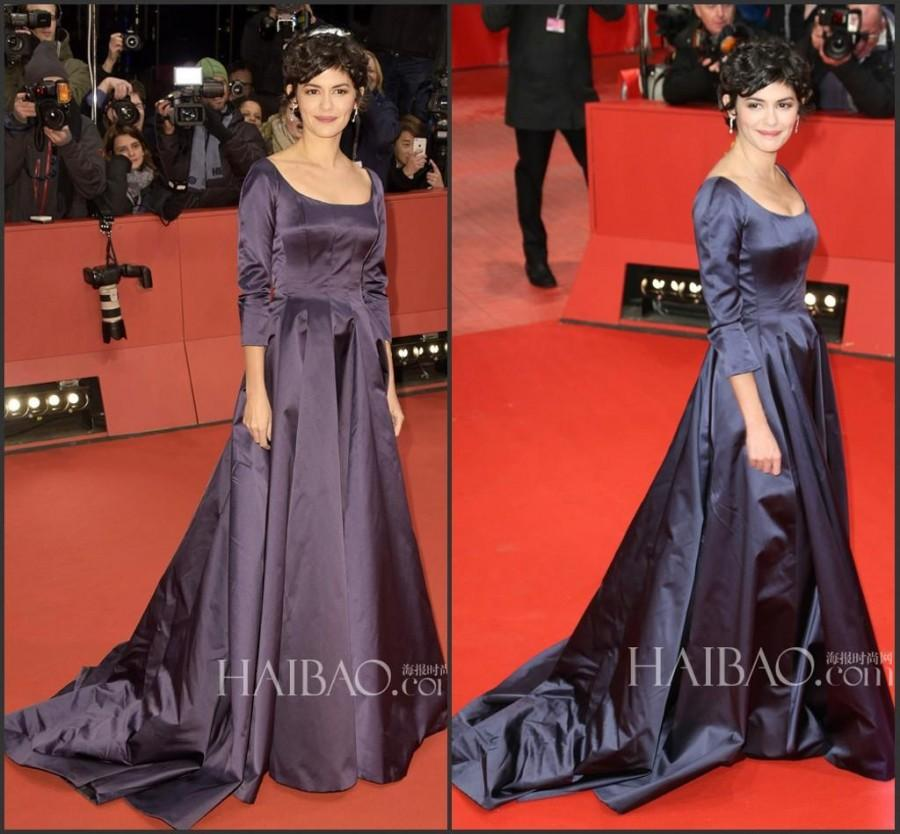 Wedding - New Arrival Audrey Tautou Evening Dresses 2015 BAFTA Celebrity Dresses Scoop Train Zip Back 3/4 Long Sleeve Party Prom Formal Ball Gowns Online with $104.02/Piece on Hjklp88's Store