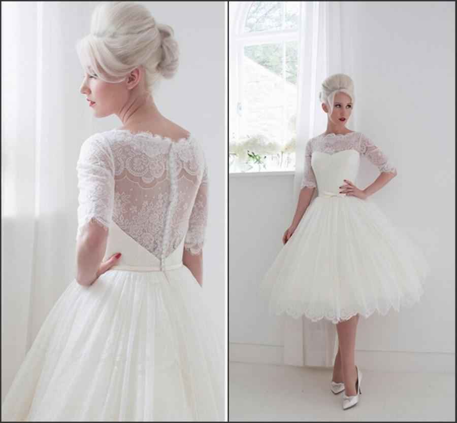 Vintage Wedding Dresses Utah: 2015 Half Sleeve A Line Sheer Weddding Dresses House Of