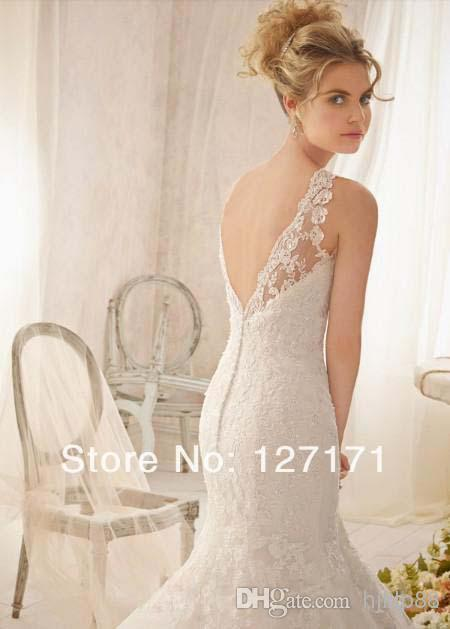 Свадьба - Tulle Bandage Dress Sexy Backless 2014 Bride Maid Ballkleider Neu Traumhaftes Appliques Long Beaded Lace Mermaid Wedding Dress Online with $136.55/Piece on Hjklp88's Store
