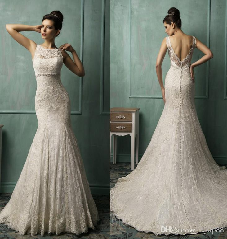 2014 New Illusion Jewel Neck Lace Backless Mermaid Wedding Dresses ...