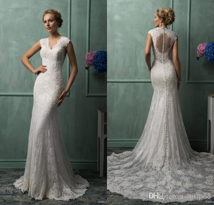 New Arrival Mermaid V-neck Amelia Sposa Chapel Train Ivory Lace ...