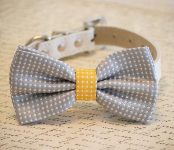 Свадьба - Gray and Yellow Dog Bow Tie,Gray Polka dots, Pet Accessory, Birthday Gift, Dog Lovers, Pet wedding accessory