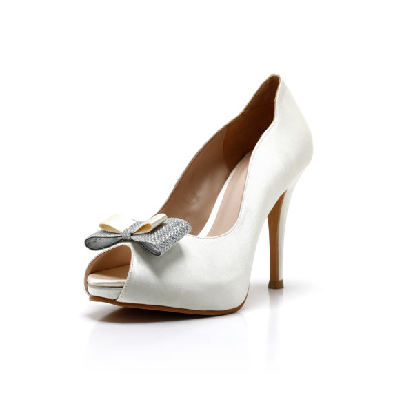 Carina Ivory White Wedding ShoesIvory Bridal HeelsIvory Shoes Heel With Silver Bow
