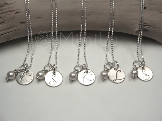 Personalized Bridesmaids Gifts Bridesmaids Initial Necklaces