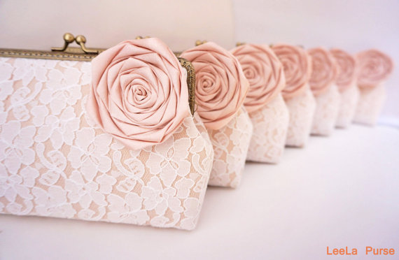 Mariage - Blush Glamorous vintage wedding 7* Lace Clutches / Bridesmaid Clutch / Bridal Party / You Choose The Color Flower and Lining
