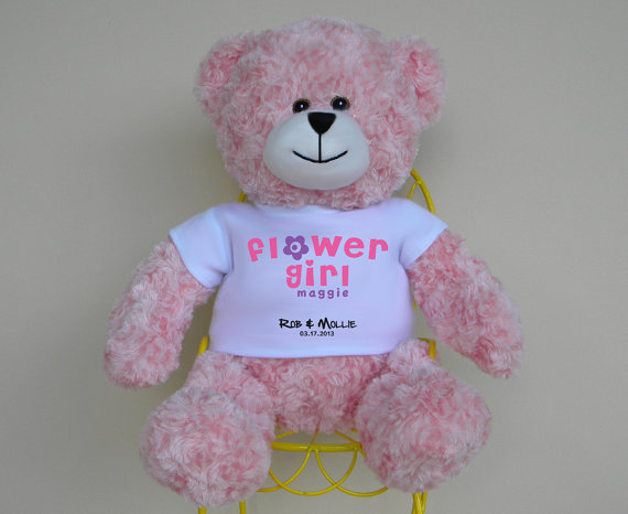 Flower Girl Gift 16 Personalized Bear With Color Matched Ribbon