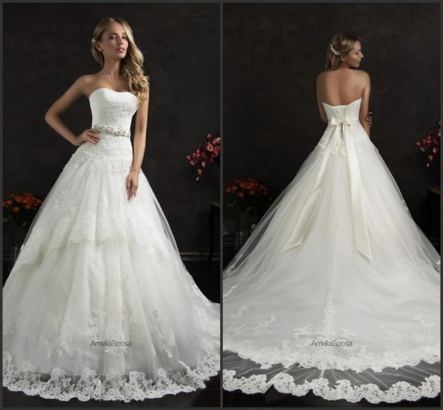 Boda - Vintage Amelia Sposa Wedding Dresses Sash A Line Train Appliques Lace Tulle Sleeveless Strapless Bridal Ball Gowns Dresses Chapel Train Online with $116.11/Piece on Hjklp88's Store