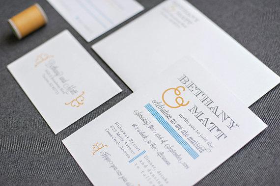 Mariage - Fun Unique Wedding Invitation - Casual Blue and Orange Fun and Simple Shimmery Wedding Invitation - Custom Colors - Bethany and Matt