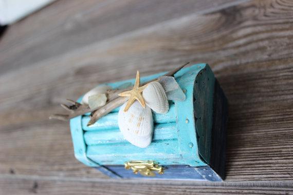 Nautical Treasure Chest Coastal Jewelry Box Ring Bearer Photo