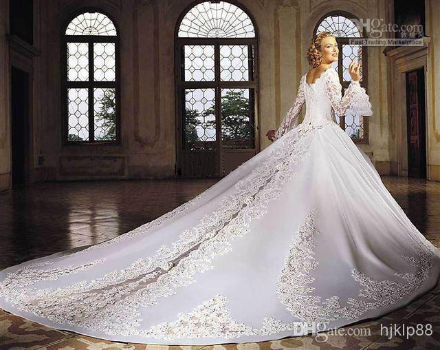 Ball Gown Wedding Dresses With Train : Ball gown wedding dresses with lace long sleeves cathedral train