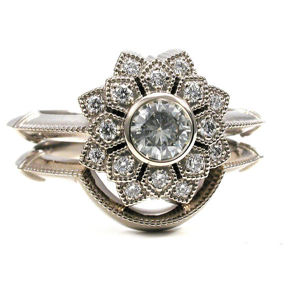 Flower Double Halo Engagement Ring Set - Diamonds and 14k White Gold    This simple engagement set has a 4.5mm VS approx. .33 carat round