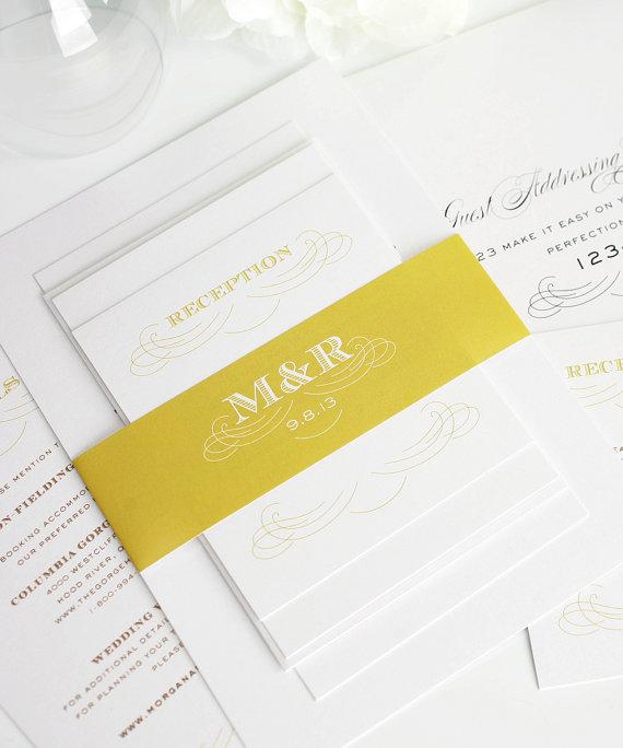 Mariage - Unique Wedding Invitation, Classic Wedding Invitation, Wedding Invites - Antique Monogram Wedding Invitations - Deposit to Get Started