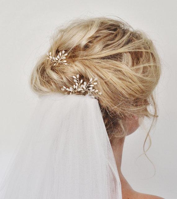 زفاف - Bridal Hair Accessories, Bridal Hair Pins, Rice Pearl teardrop Crystal Hair Pins, Pearl Crystal Hair Pins, Wedding Hair Accessory, Set of 3