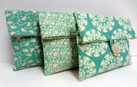 Wedding - Set of 3 Light Turquoise Clutches Bridesmaid Gifts Tiffany Blue Wedding