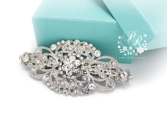 Mariage - Wedding Hair Clip Wedding Barrette Rhinestone Hair Clip Bridal Barrette Wedding Jewelry Wedding Accessory Bridal Jewelry Headpiece Aimee