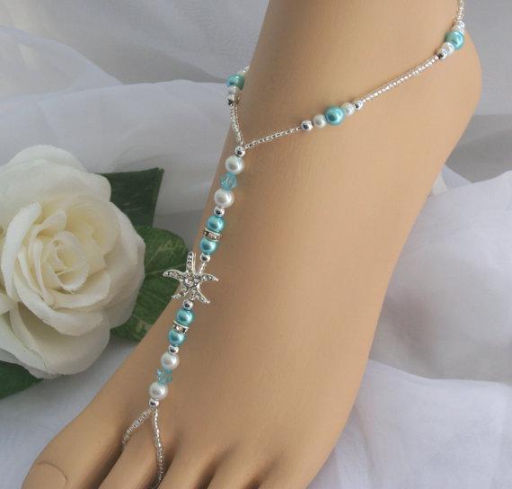 Свадьба - Turquoise Pearl Rhinestone Starfish Foot Jewelry Wedding Starfish Barefoot Sandal