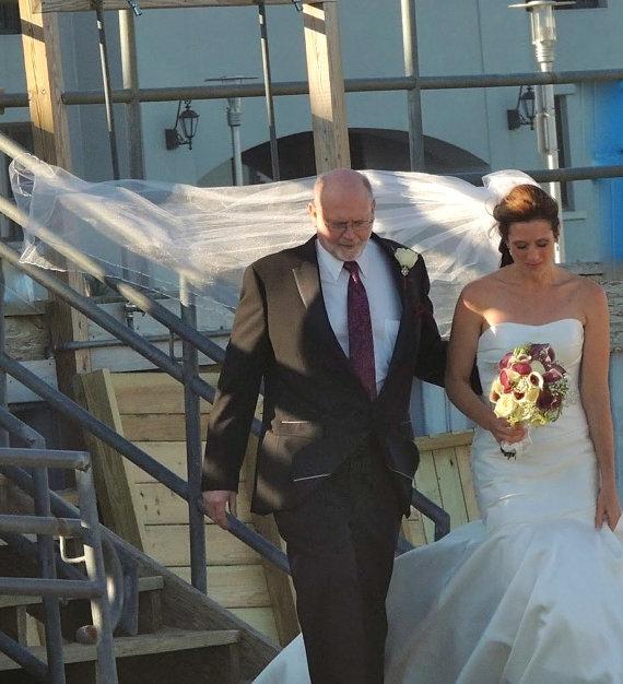 Свадьба - Lisa II a Swarovski Crystal Rhinestone Silk Pencil Edge Trim Cascading 115 Inch Long Cathedral Length Veil