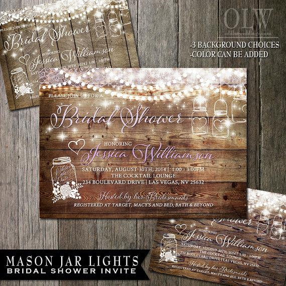 mason jar bridal shower invitation rustic wood with white mason jars and flowers country wedding invite sample450