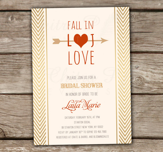 fall in love bridal shower invitation printed or printable gold wedding engagement couples monogram burnt orange arrow chevron boho 017