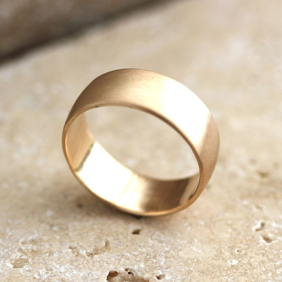 Свадьба - Wide Men's Gold Wedding Ring, 8mm Low Dome Men's Wedding Band Recyled 10k Yellow Gold Ring Wedding Jewelry - Made in Your Size