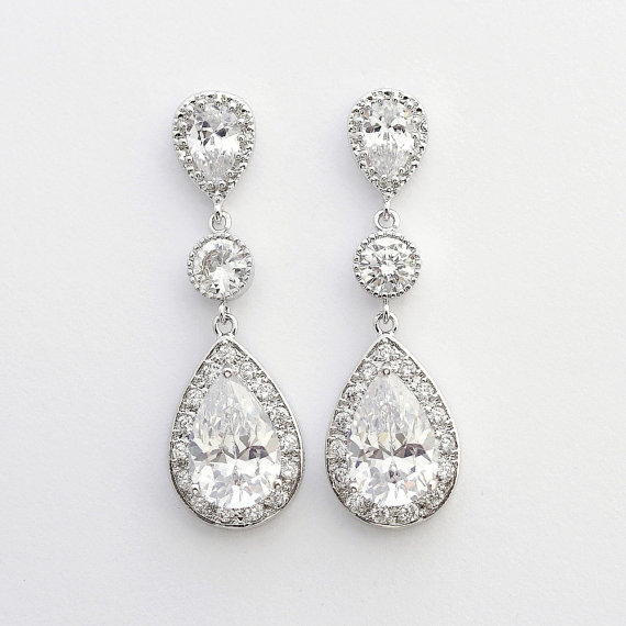 Bridal Crystal Earrings Silver Posts Large Pear Cut Cubic Zirconia Drop Wedding Jewelry