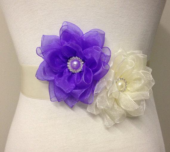Wedding - Ivory Sash-Wedding Sash-Bridal Flower Sash-Flower Sash-Ivory Lavender Sash-Bride Belt-Ribbon Sash-Luxurious Lotus Organza Flower Sash