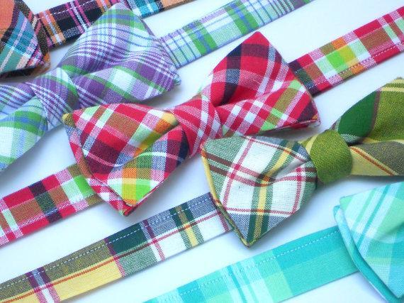 Wedding - Preppy plaid bow ties for boys, wedding bow ties for ring bearers, lavender plaid bow tie, coral plaid bow tie, pink plaid bow tie