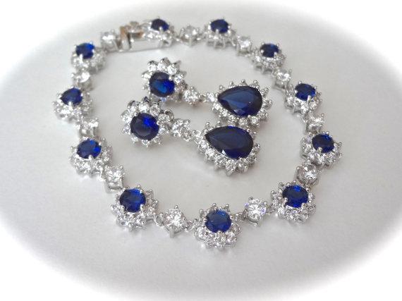 Sapphire Bracelet And Earring Set Cubic Zirconias Brides