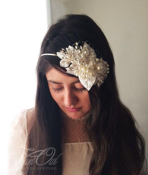 Wedding - Bridal beaded crystal pearl headband leaves veil alternative spring summer bride - HARMONY