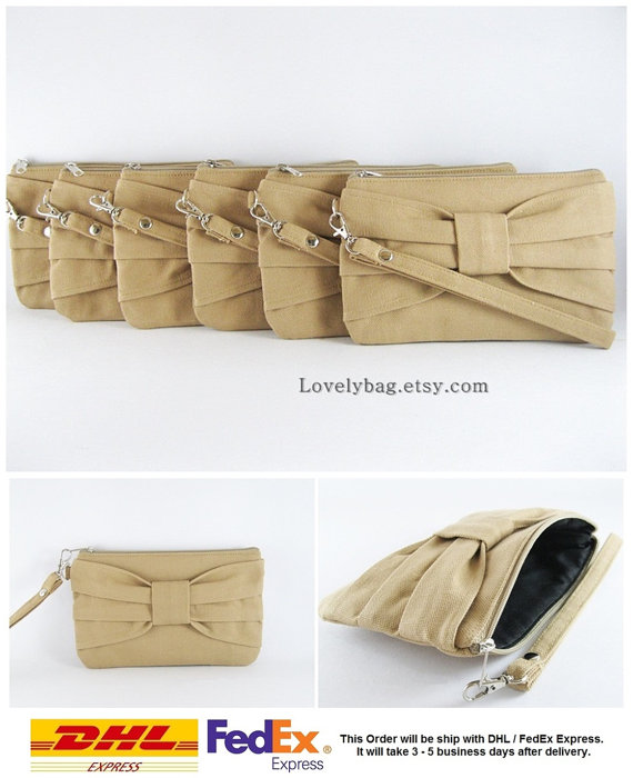 Mariage - SUPER SALE - Set of 6 Tan Bow Clutches - Bridal Clutches, Bridesmaid Clutch,Bridesmaid Wristlet,Wedding Gift,Zipper Pouch - Made To Order