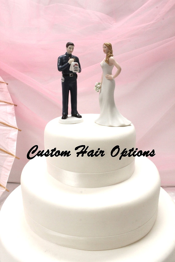 Police Officer Wedding Cake Topper - Personalized - Policeman Groom ...