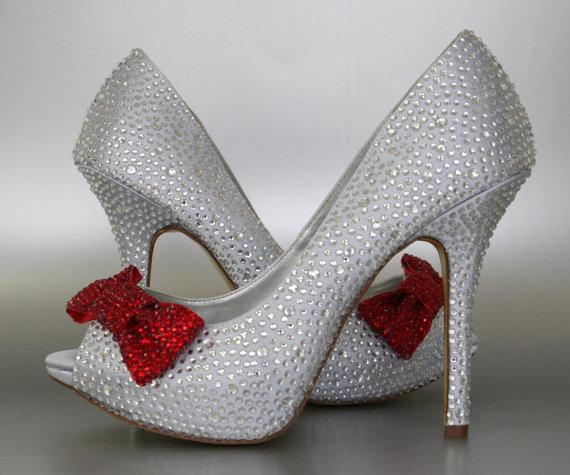 زفاف - Wedding Shoes -- Silver Rhinestone Covered Platform Peep Toe Wedding Shoes with Red Rhinestone Covered Bow on Toe