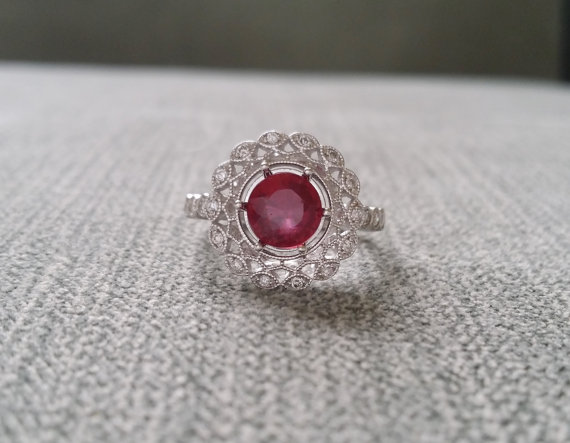 80a77a002e1b7a Halo Ruby Diamond Ballerina Antique Engagement Ring Gemstone Flower  Filigree Red Round 14K White Gold Vintage