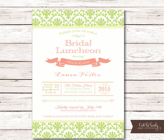 bridal shower invitation bridal luncheon invitations bridesmaids