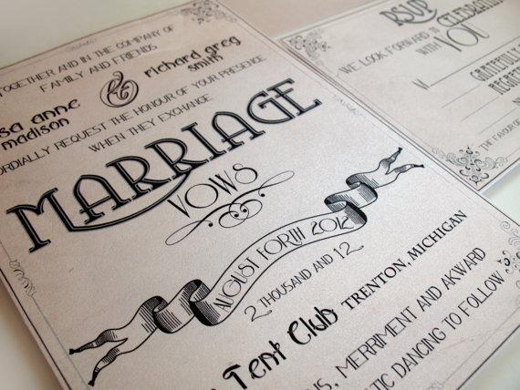 Wedding Invitations Retro Vintage - Art Nouveau Manifesto Set ...